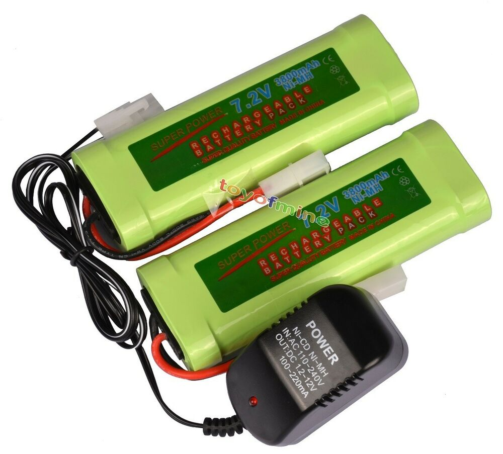 2x 7 2v 3800mah ni mh rechargeable battery pack charger ebay. Black Bedroom Furniture Sets. Home Design Ideas