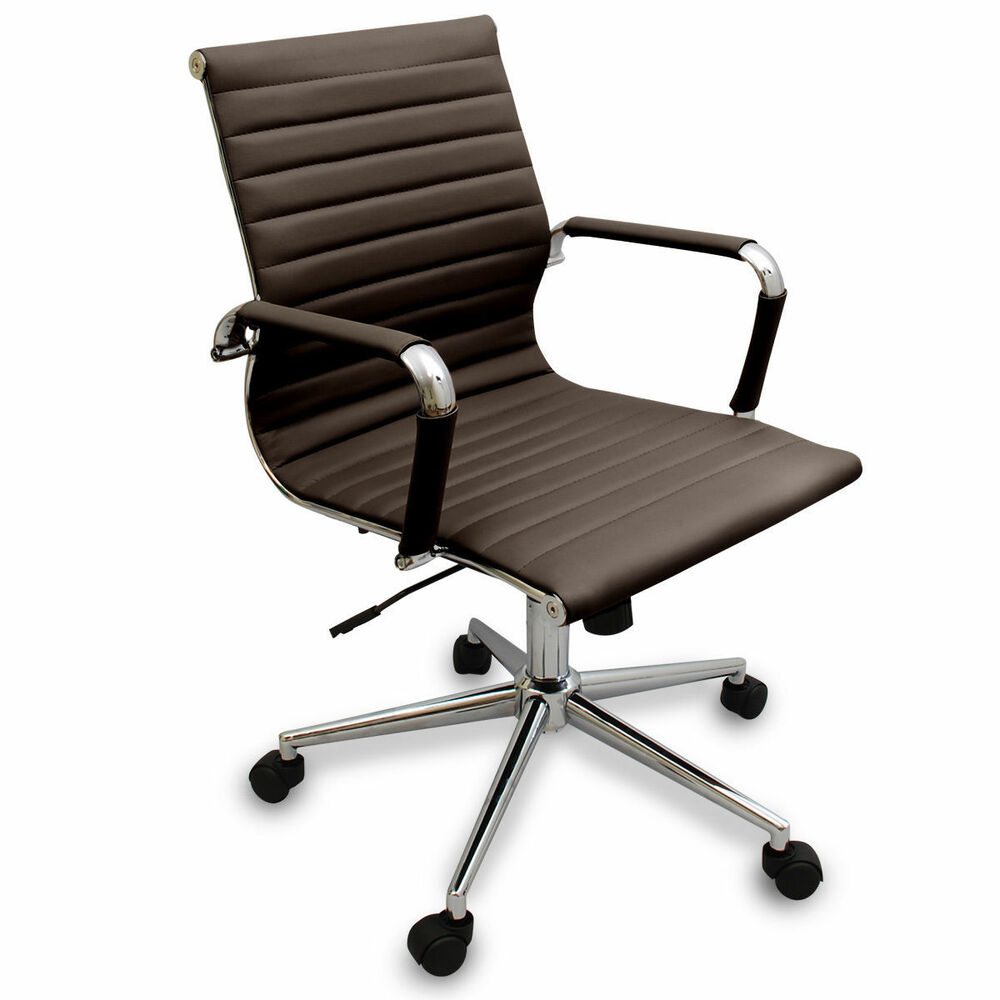 New coffee brown modern ribbed office chair computer for Modern office desk chairs