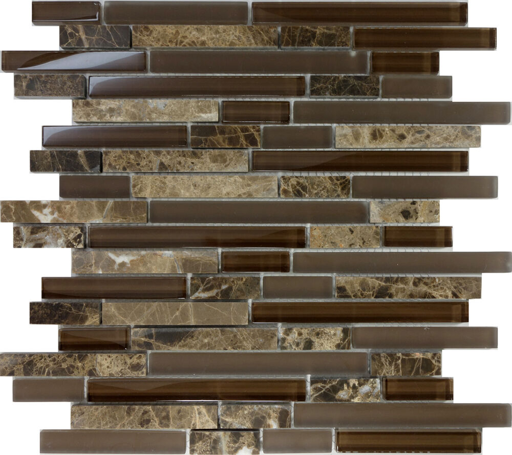 Sample brown glass natural stone linear mosaic tile wall kitchen backsplash spa ebay - Kitchen backsplash tile ...