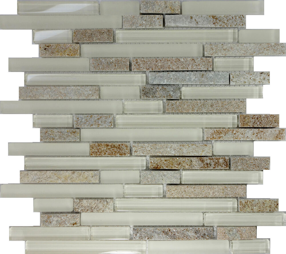 Sample cream beige glass natural stone linear mosaic tile kitchen backsplash ebay Stone backsplash tile