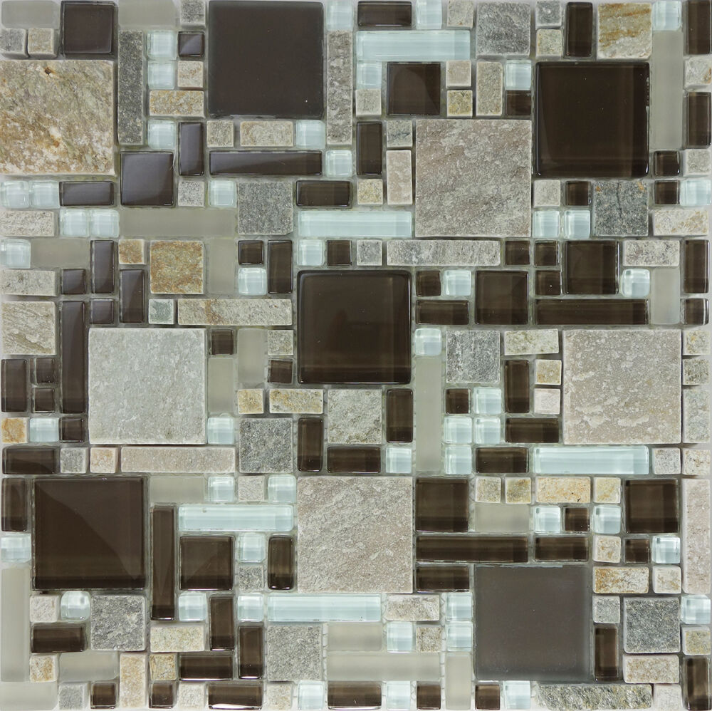 Sample Marble Green Brown Glass Linear Mosaic Tile: SAMPLE- Brown Gray Glass Natural Stone Pattern Mosaic Tile