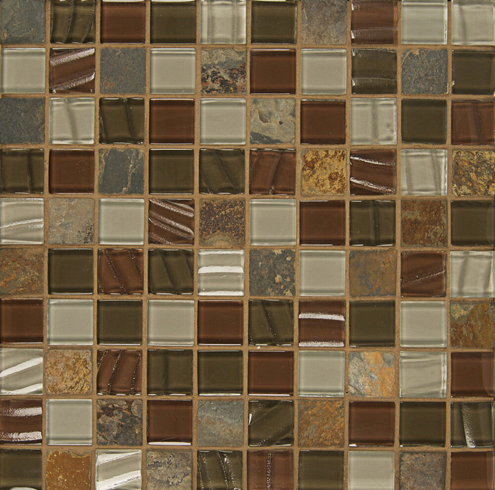 Sample Brown Green Glass Natural Stone Mosaic Tile Wall