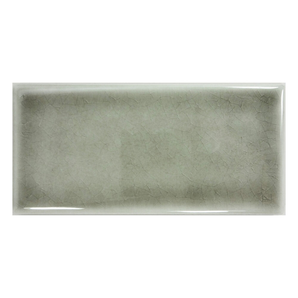 Sample Gray Crackle Glazed Hand Made Porcelain Subway