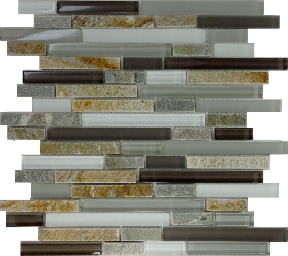 Sample Marble Green Brown Glass Linear Mosaic Tile: SAMPLE- Gray Brown Glass Natural Stone Linear Glass Mosaic