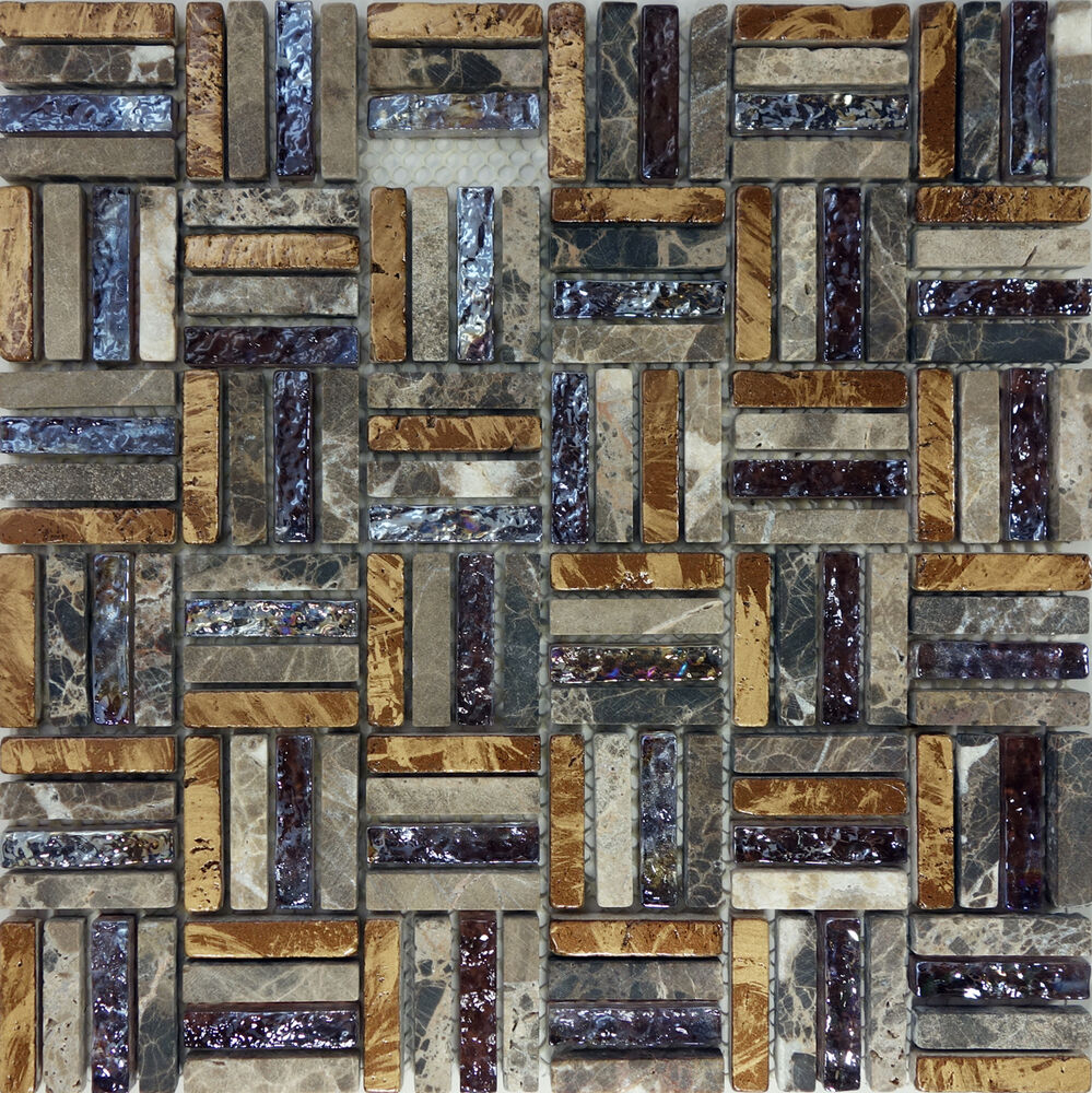 Sample Brown Glass Natural Stone Linear Mosaic Tile Wall: SAMPLE- Brown Natural Stone Iridescent Glass Pattern