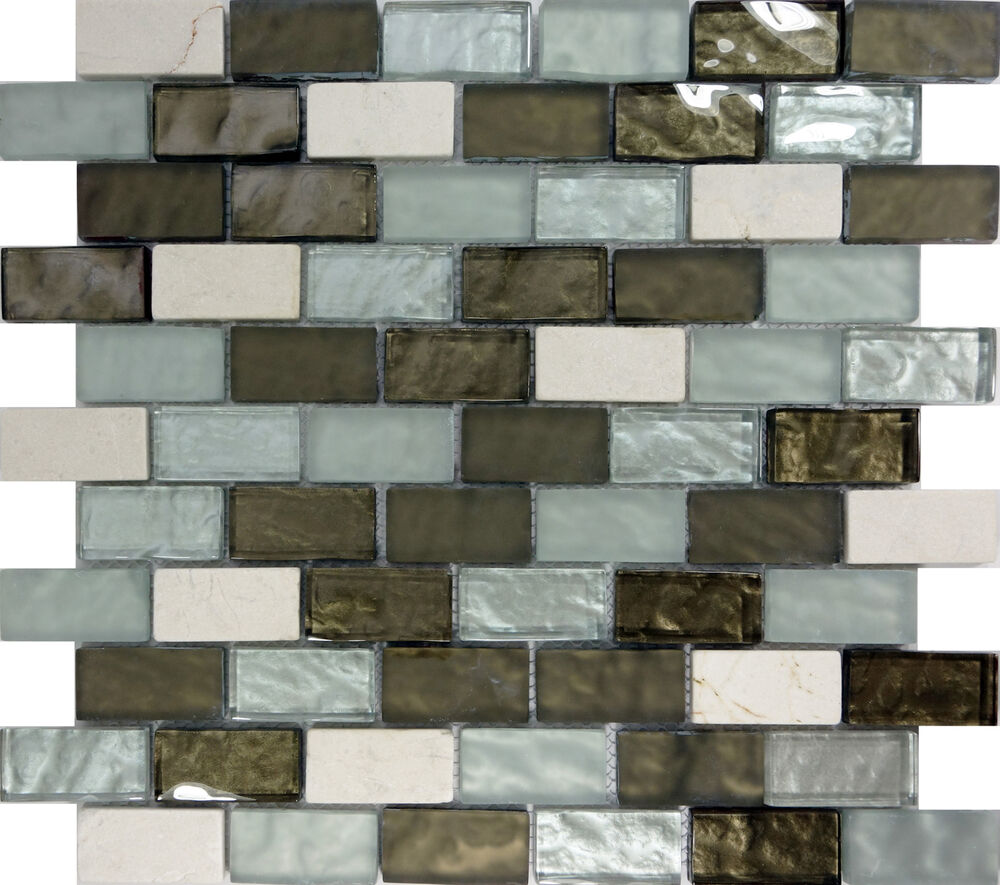 Sample Marble Green Brown Glass Linear Mosaic Tile: SAMPLE- Green White Glass Natural Stone Mosaic Tile
