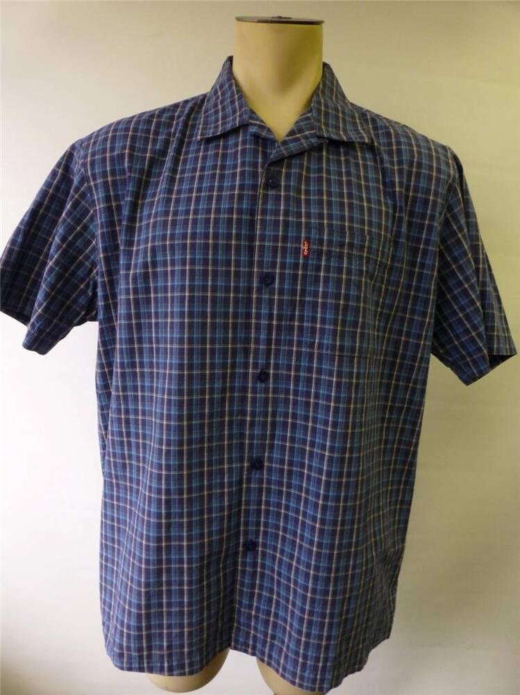 Mens levis strauss red tab short sleeve button up blue for Mens short sleeve camp shirts