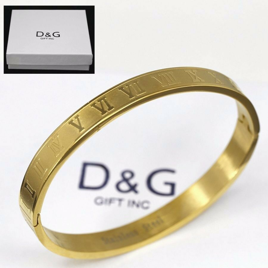 Dg 6 5 Quot Stainless Steel Gold Roman Numeral Bangle Bracelet