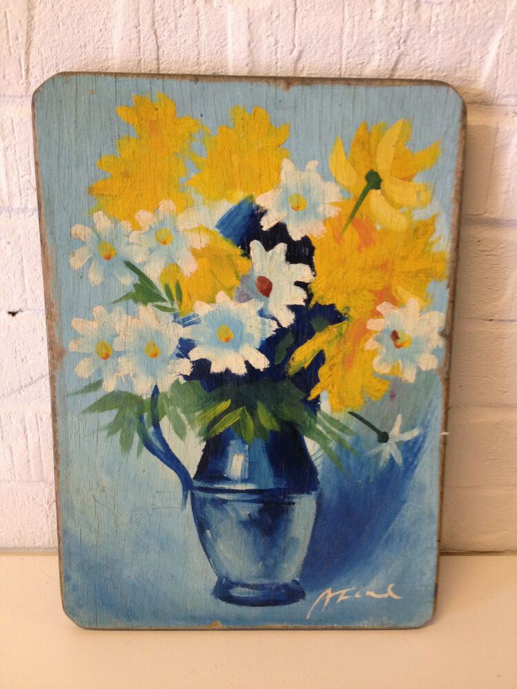 Likely Vintage Signed Still Life Painting On Wood Board