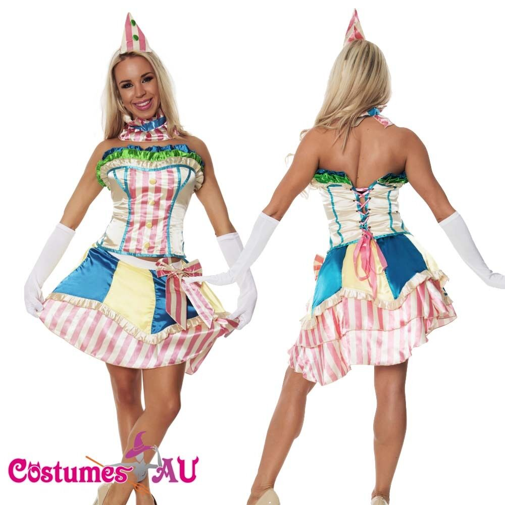 Sexy Funny Clown Costume Circus Carnival Fancy Dress