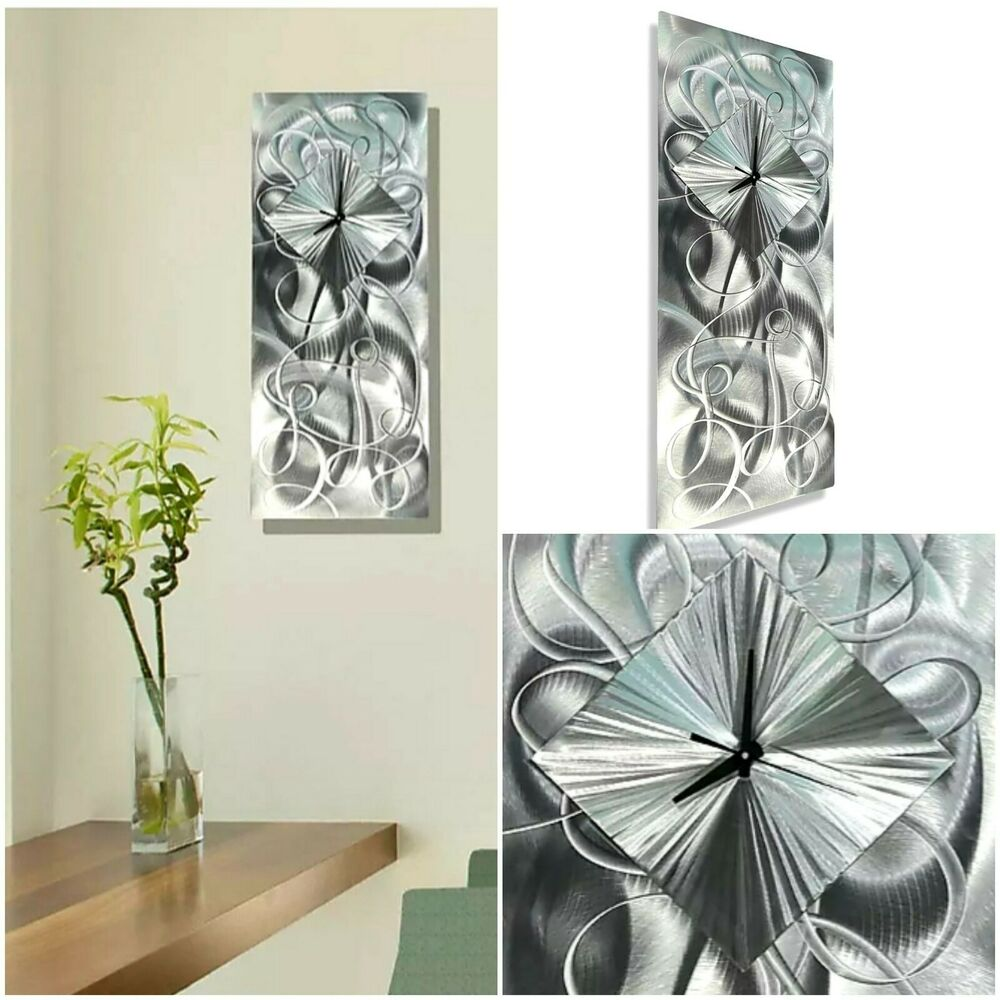Contemporary silver metal wall clock art sculpture light for Bronze wall art