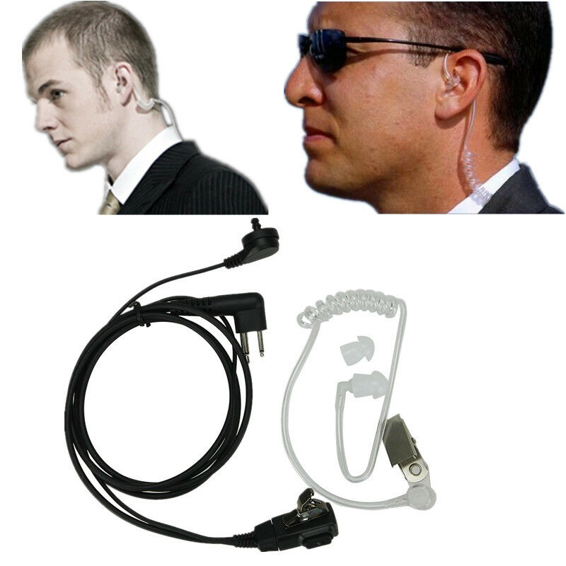 2 Pin Mic Covert Acoustic Tube Earpiece Headset For