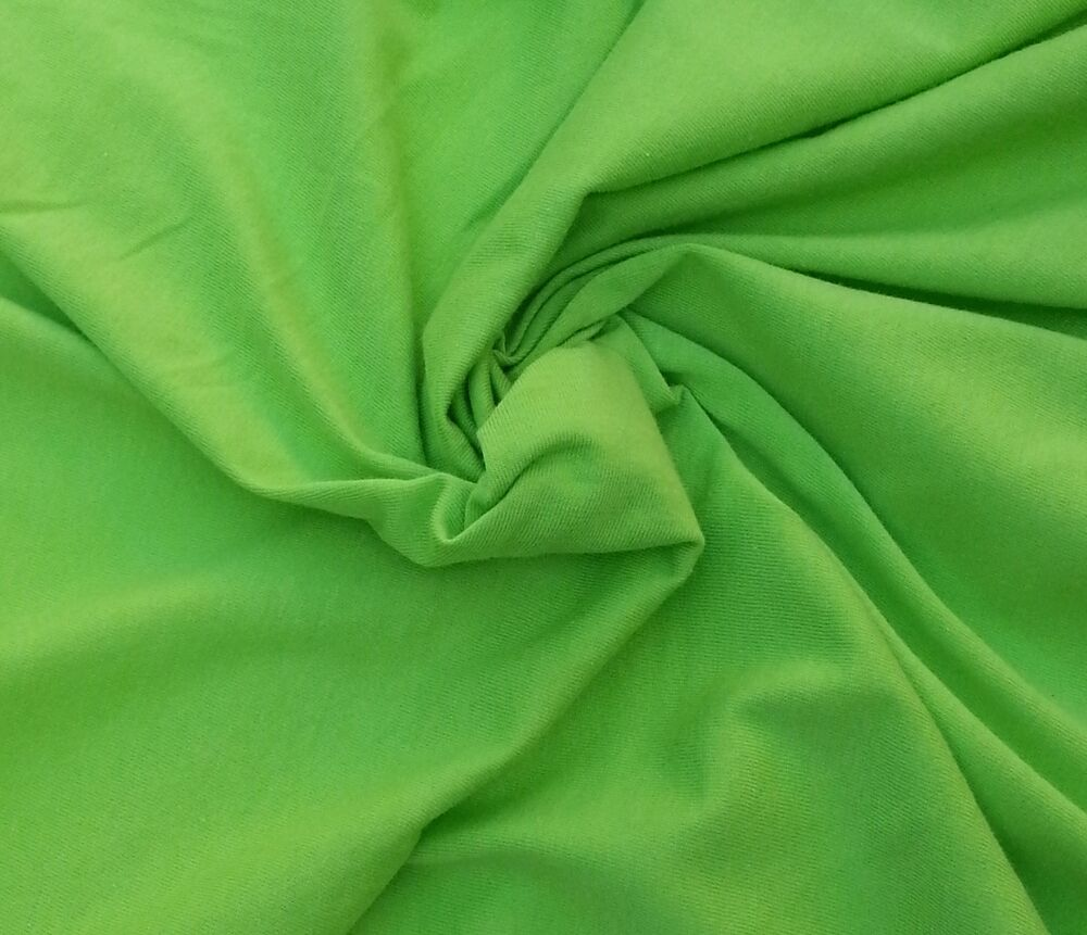 Organic cotton fabric blend jersey knit by the yard lime for Cotton fabric by the yard