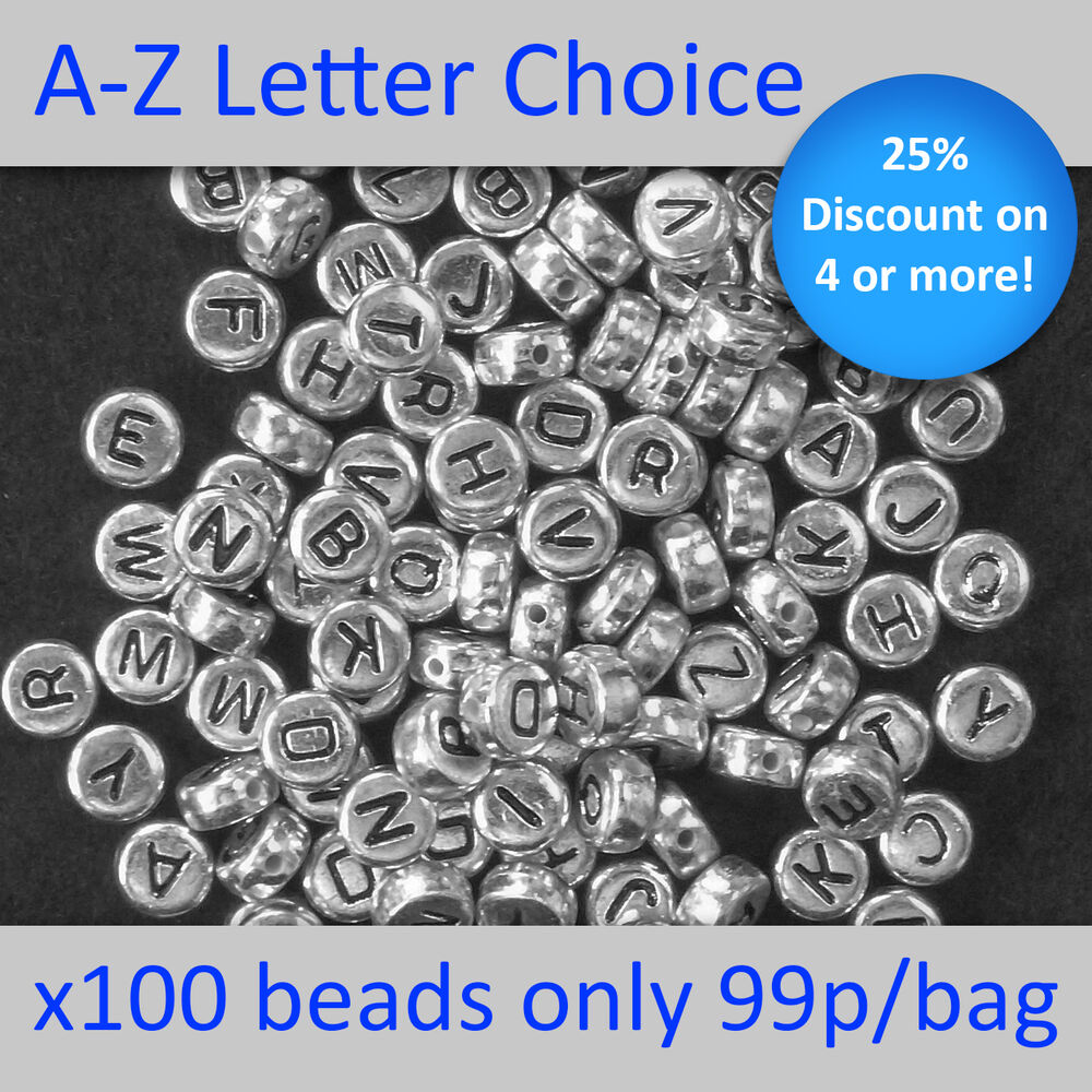 Silver Alphabet Beads: 100 Silver Alphabet Round Beads Letters A-Z