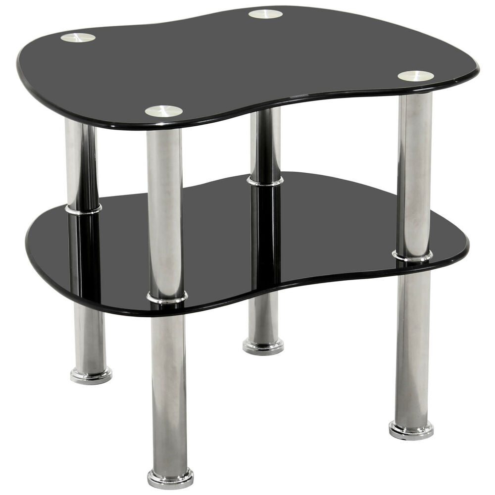 Chrome glass end lamp small side coffee table black clear ebay Side and coffee tables