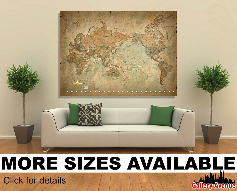 Old Vintage Wall Decor : Wall art canvas picture print antique old vintage world