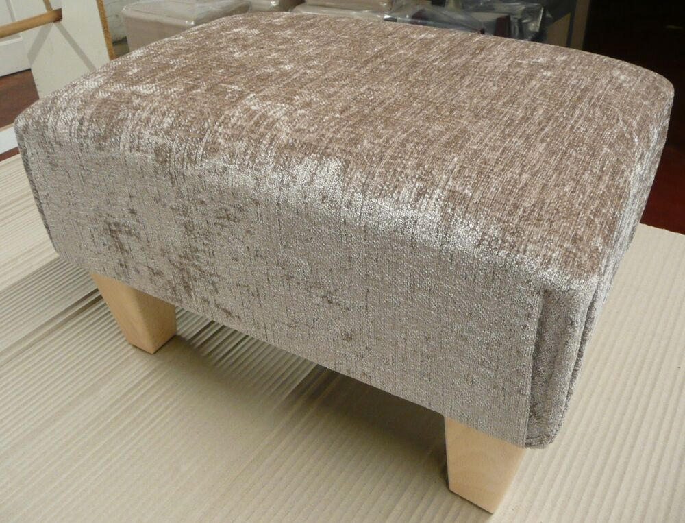 Footstools Pouffes In Mink Chenille Fabric With Square