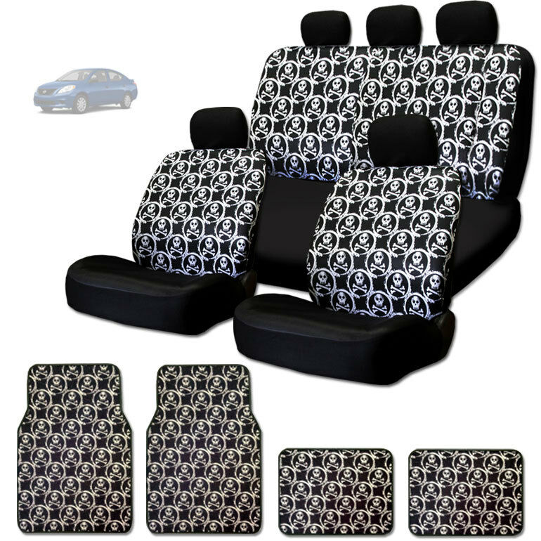 NEW COOL SKULL DESIGN FRONT AND REAR CAR SEAT COVERS FLOOR