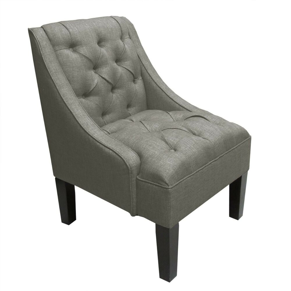 Skyline Furniture Tufted Swoop Arm Chair Gray Ebay