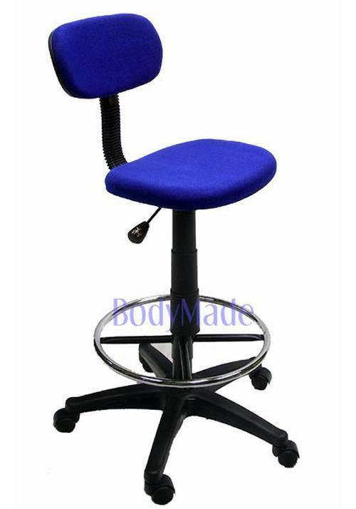 New Drafting Chair Stool Blue Fabric Office Quality Ebay