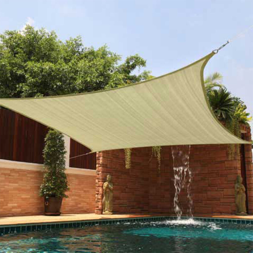 Sun shade 18x18 square top sail beige tan sand for deck for Sun patio