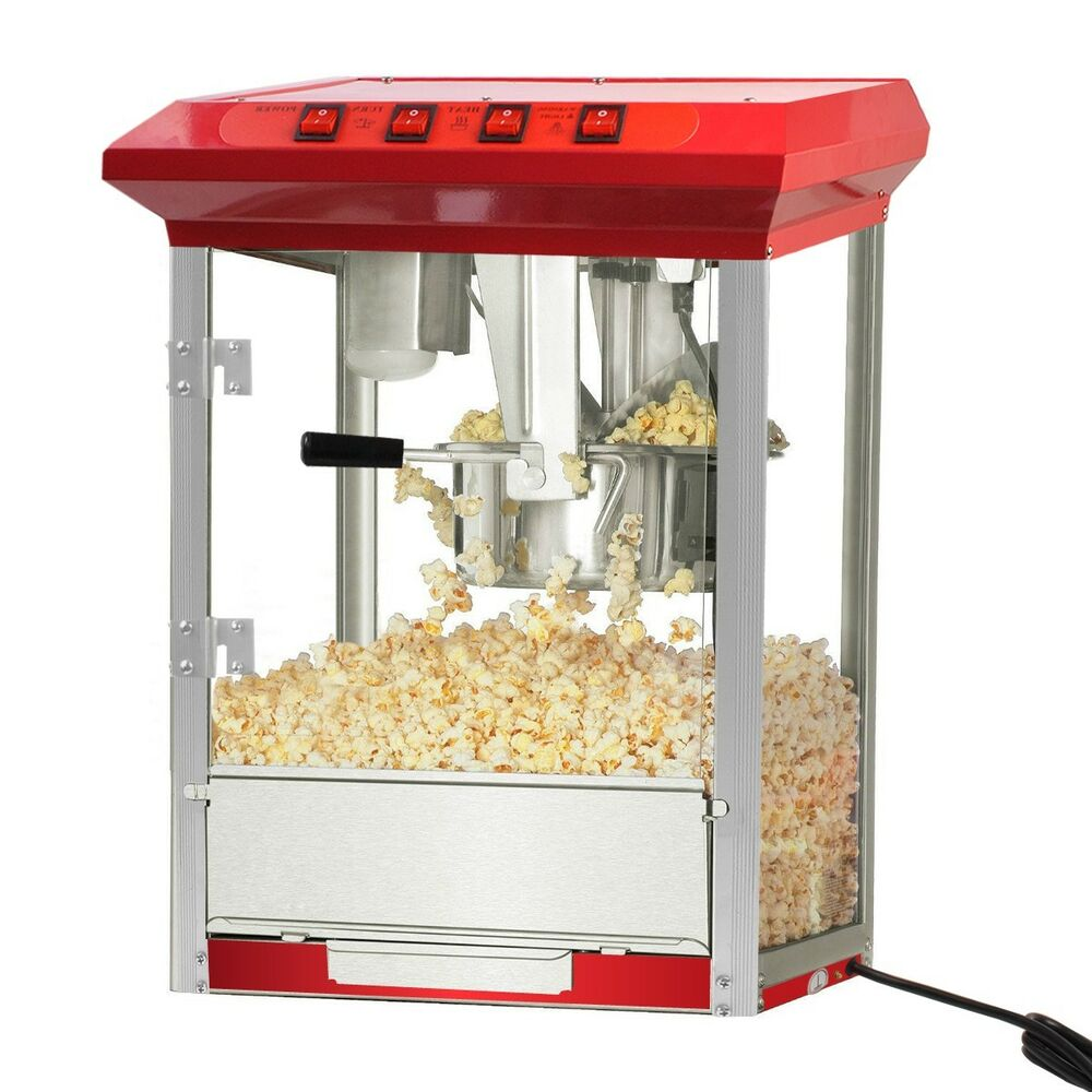 durable 8oz deluxe popcorn popper maker machine red table top tabletop theater ebay. Black Bedroom Furniture Sets. Home Design Ideas