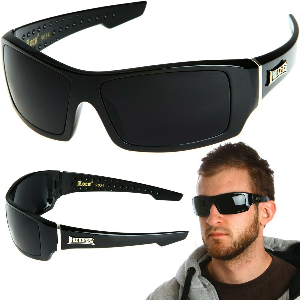 LOCS Rectangular Gangster Black Shades Mens Designer ...