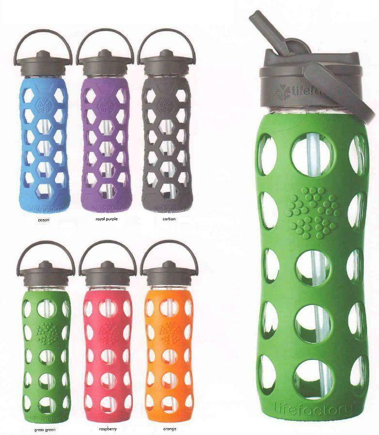lifefactory bpa free 22 oz glass water bottle silicone grip w straw sports yoga ebay. Black Bedroom Furniture Sets. Home Design Ideas