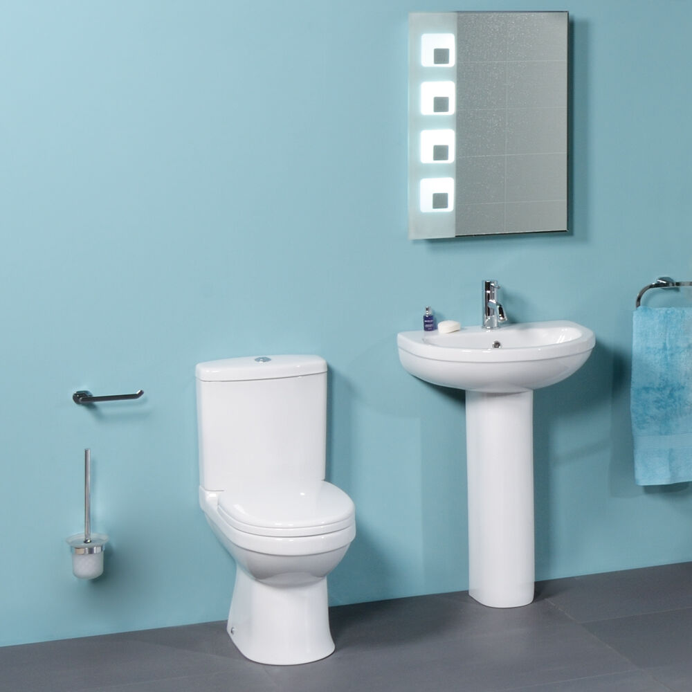 Bathroom Suite Toilet Wc Basin Sink Close Coupled Pan Full