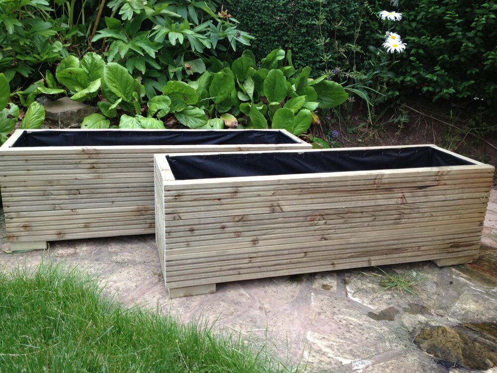 Large Deck Boards ~ Metre large wooden garden trough planters made in