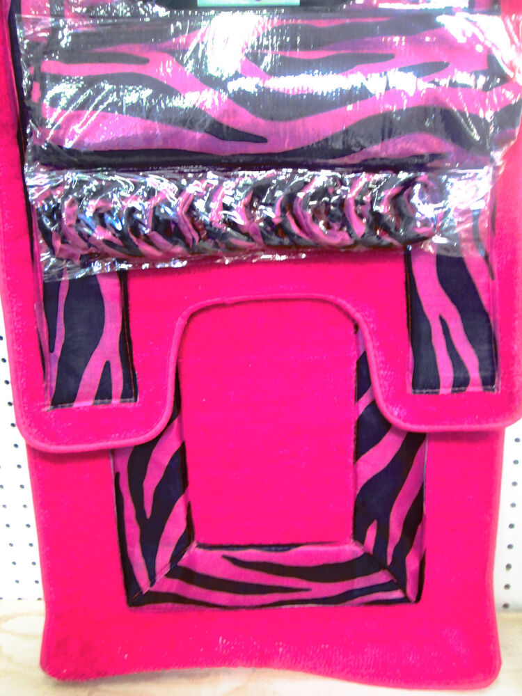 Pink zebra bathroom set w shower curtain rings bath mat for Zebra print and red bathroom ideas