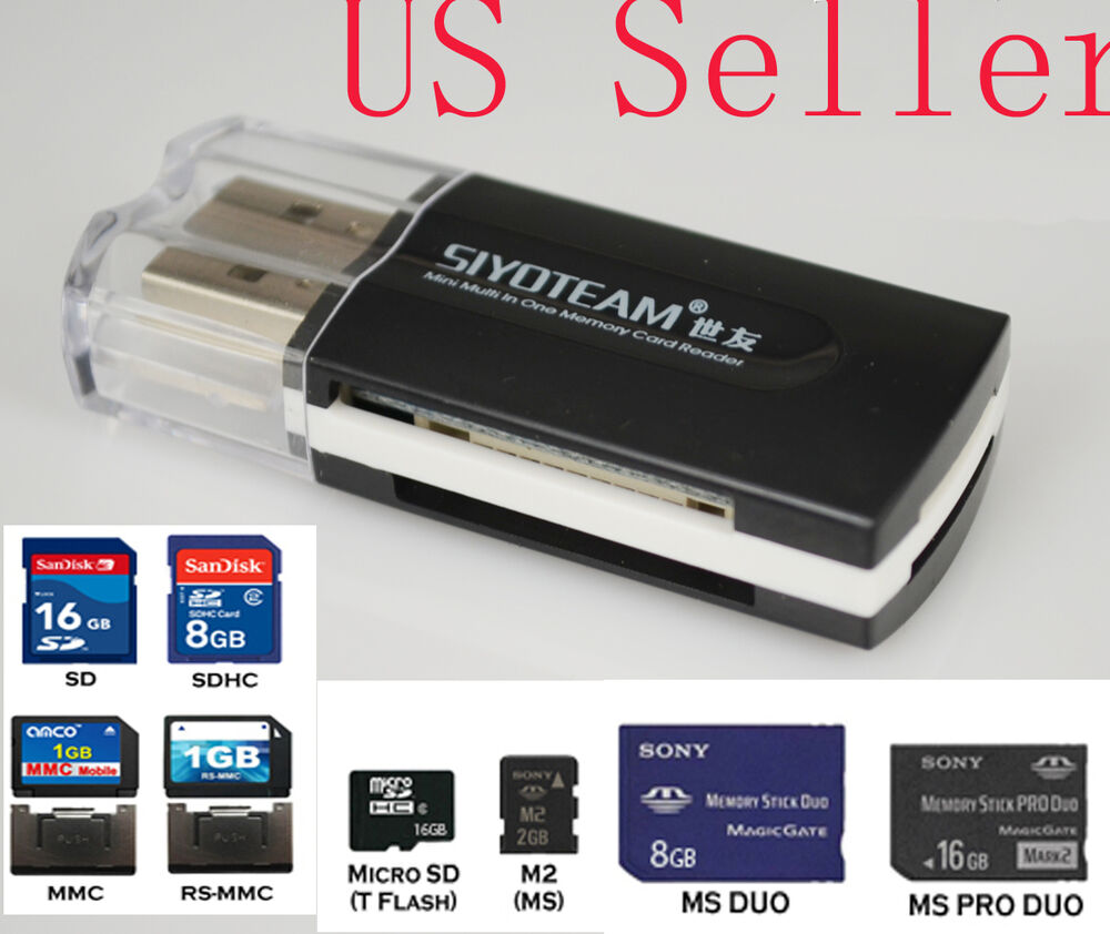 usb card reader adapter memory stick ms pro duo new ebay. Black Bedroom Furniture Sets. Home Design Ideas