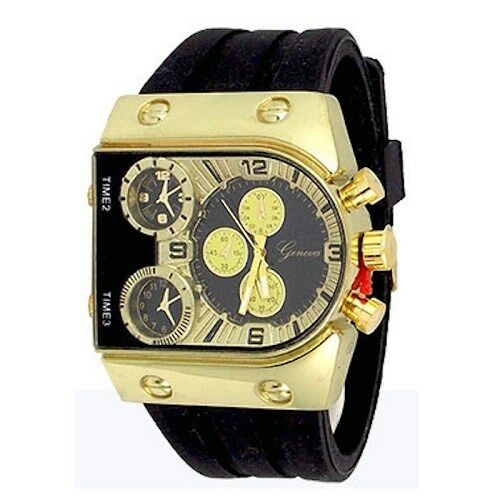 gold black designer fashion mens geneva silicone sports