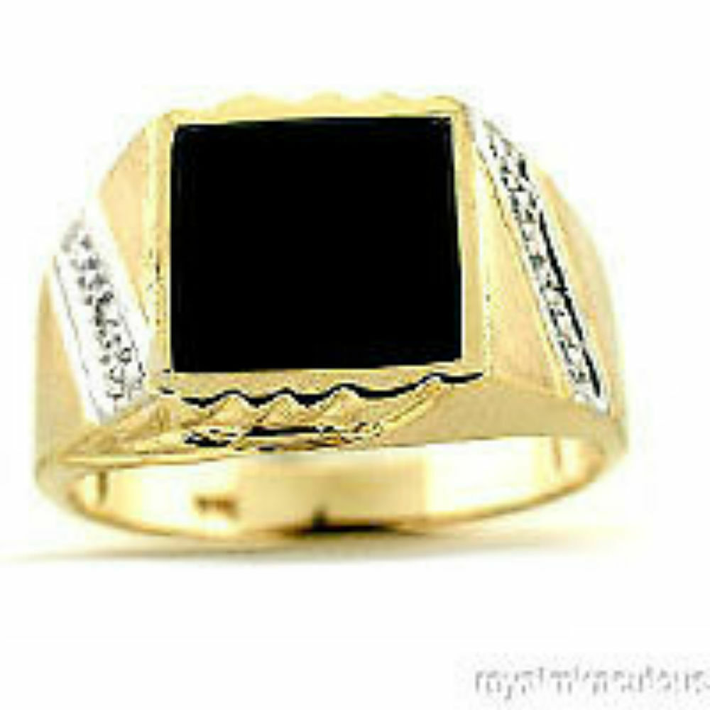 mens ring onyx 14k yellow or white gold band ebay