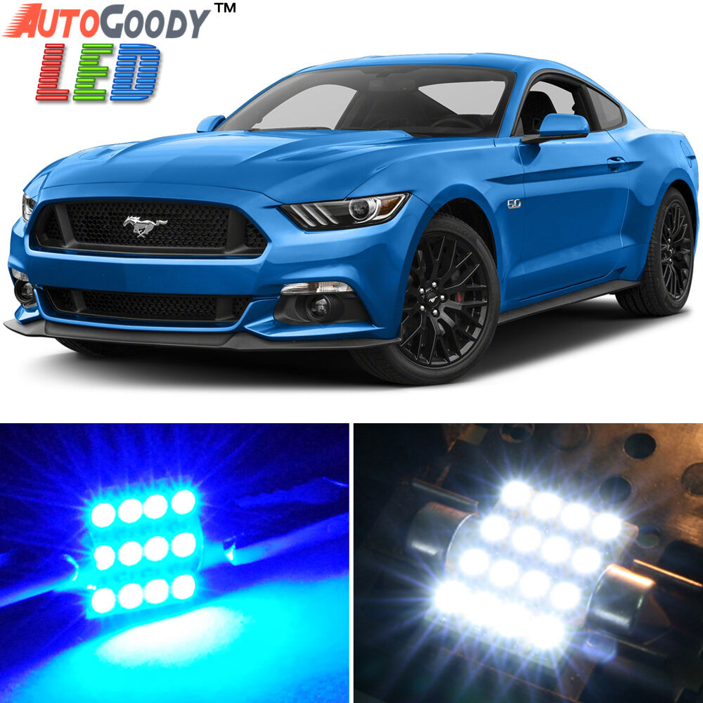 9 x premium blue led lights interior package for ford mustang 2005 2017 tool ebay for 2012 mustang interior lights