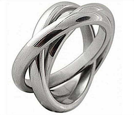 Triple band russian wedding ring high polish stainless for Mens russian wedding ring