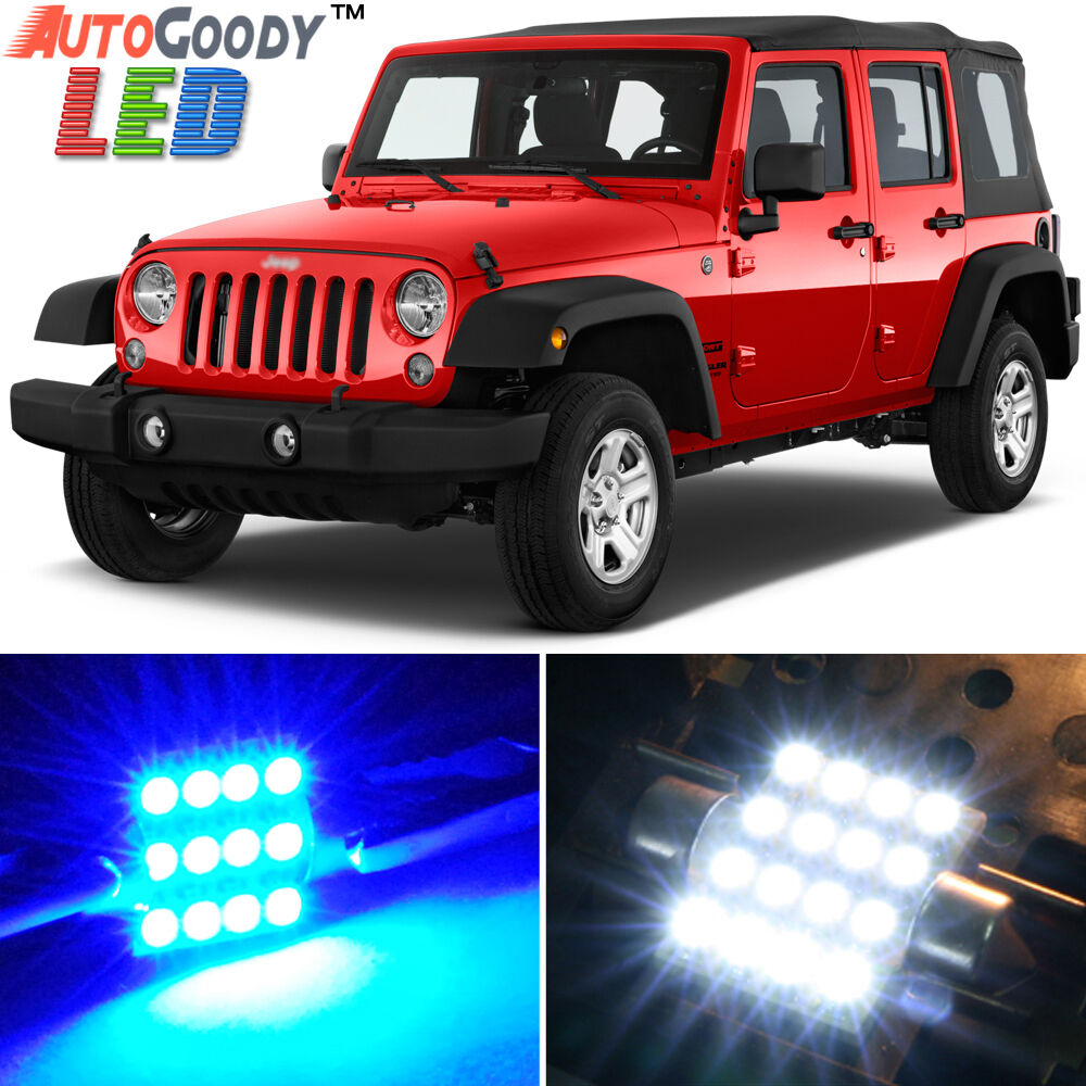 8 X Premium Blue Led Lights Interior Package Upgrade For Jeep Wrangler Ebay