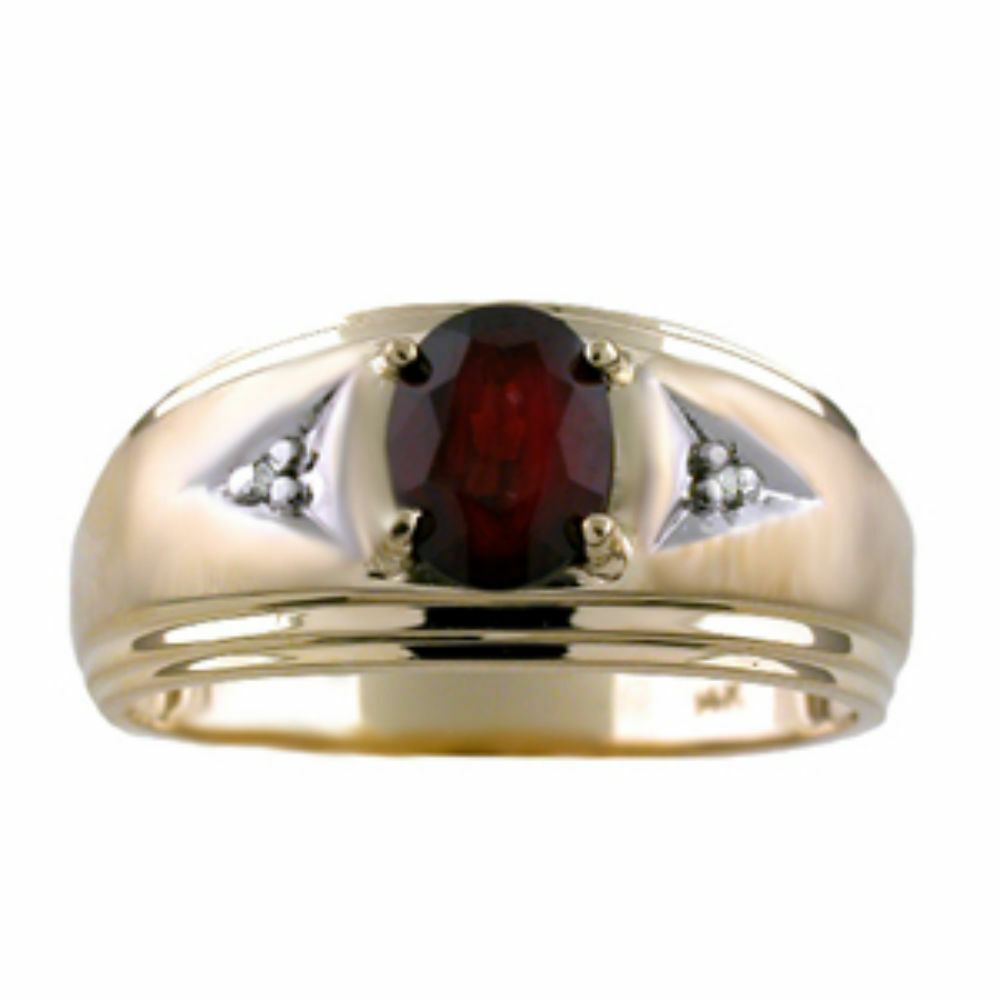mens garnet diamond ring 14k yellow gold january. Black Bedroom Furniture Sets. Home Design Ideas