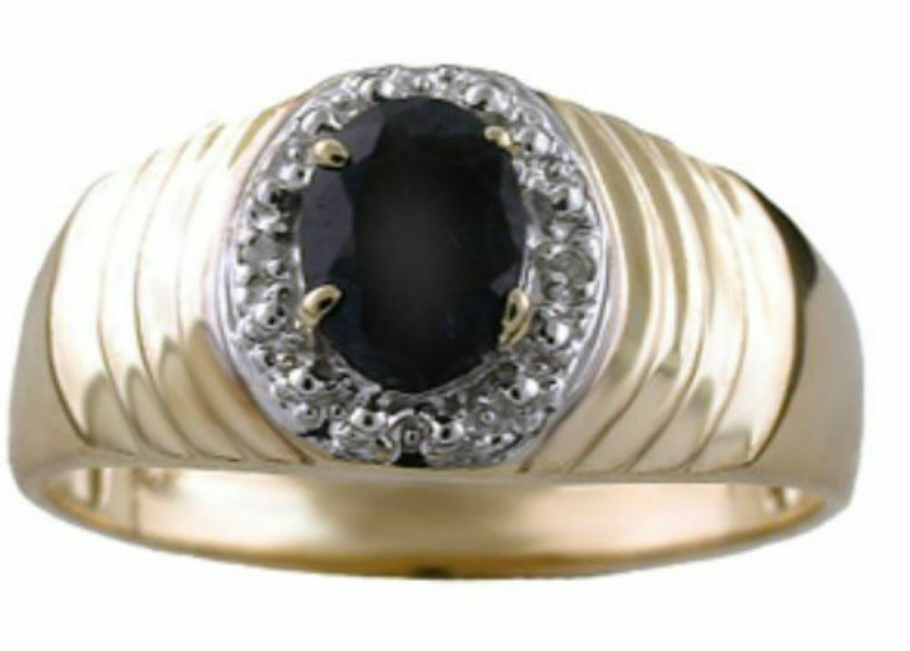 mens oval blue sapphire diamond ring 14k yellow gold ebay. Black Bedroom Furniture Sets. Home Design Ideas
