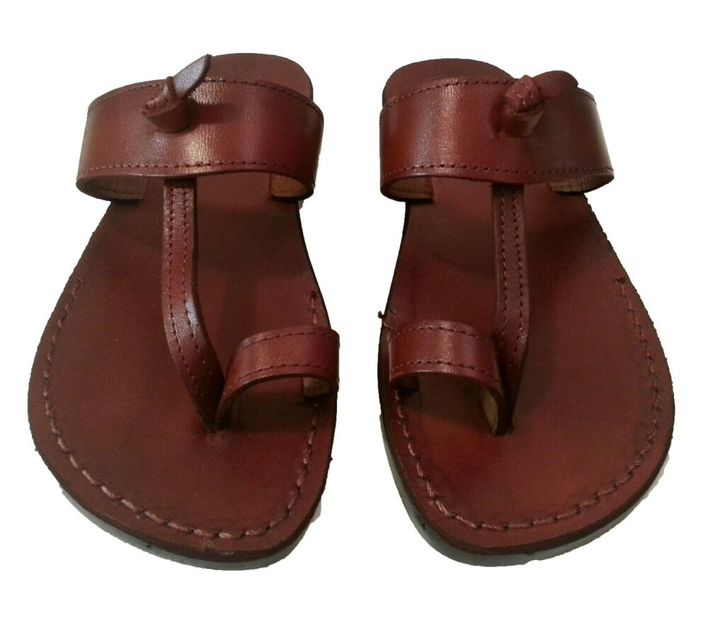 leather beach summer sandals brown toeloop slipon flip flops unisex size us 6 12 ebay. Black Bedroom Furniture Sets. Home Design Ideas