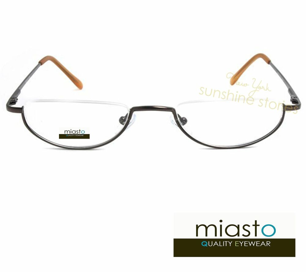 MIASTO SEMI RIMLESS METAL OVAL MOON 1/2 HALF FRAME READER ...