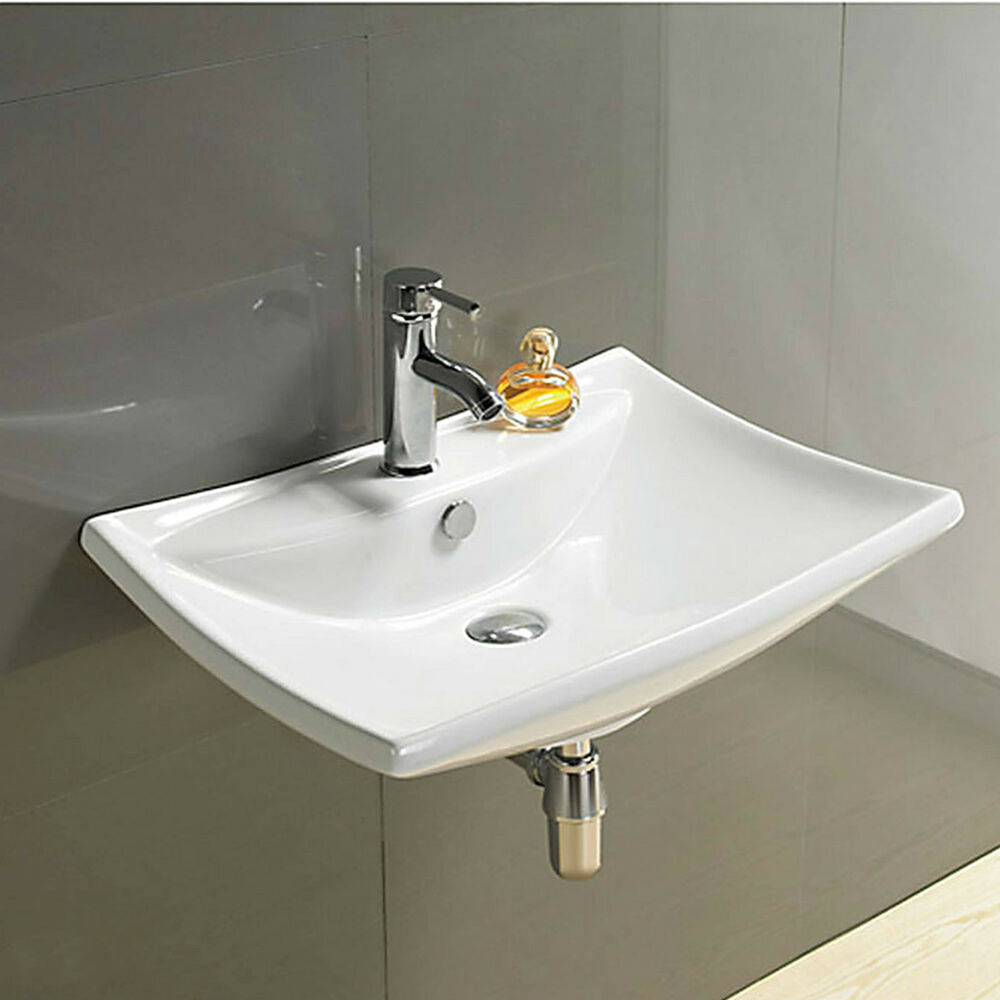 Basin sink bathroom ceramic wall hung mounted countertop for Wall mounted bathroom countertop