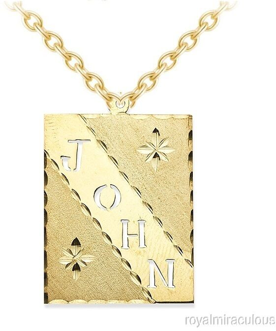 personalized cutout dogtag diamond cut nameplate necklace. Black Bedroom Furniture Sets. Home Design Ideas