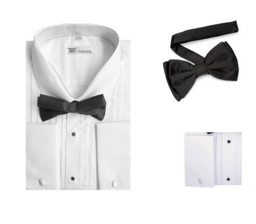 New men 39 s tuxedo dress shirt with bow tie set french cuff for Size 15 dress shirt