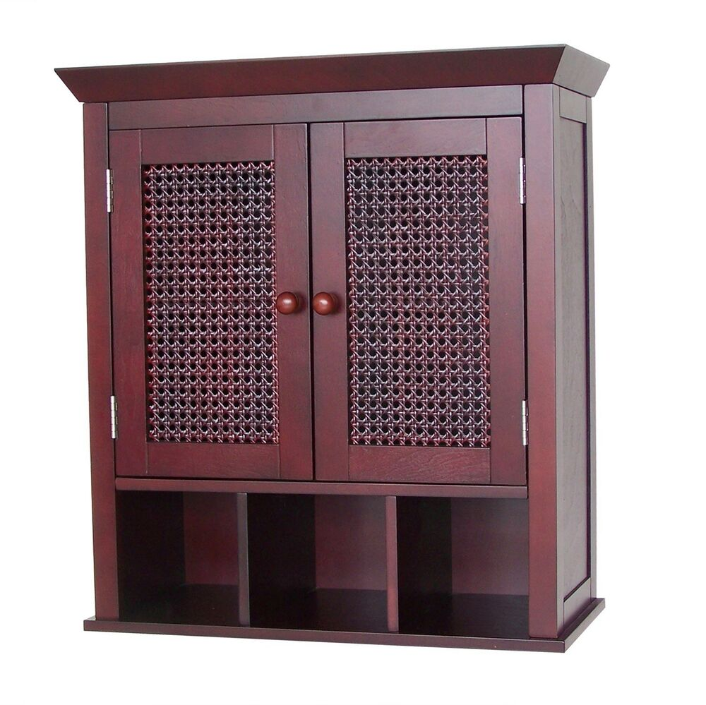 cane bathroom wall mount cabinet w 3 cubbies 2 doors brown and black