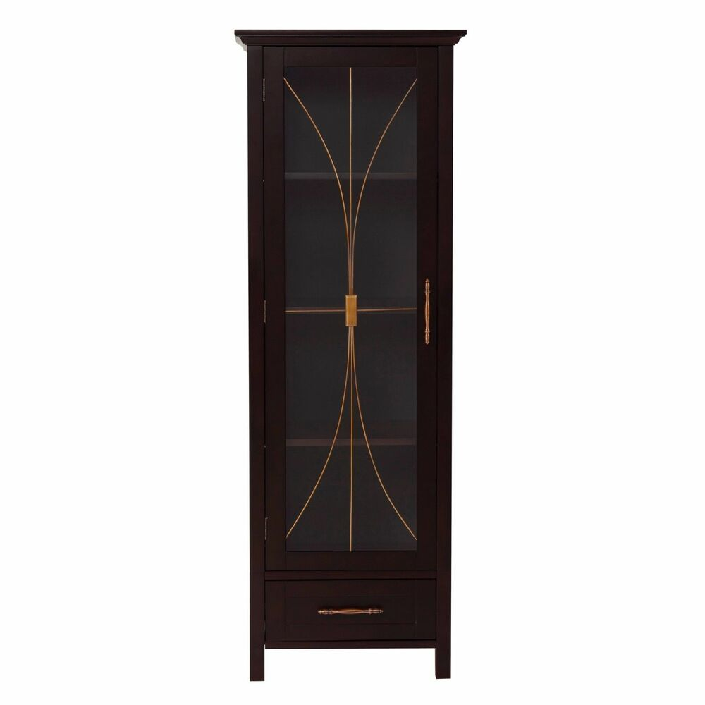 Sansai Modern Glass Door Bathroom Linen Floor Cabinet With ...