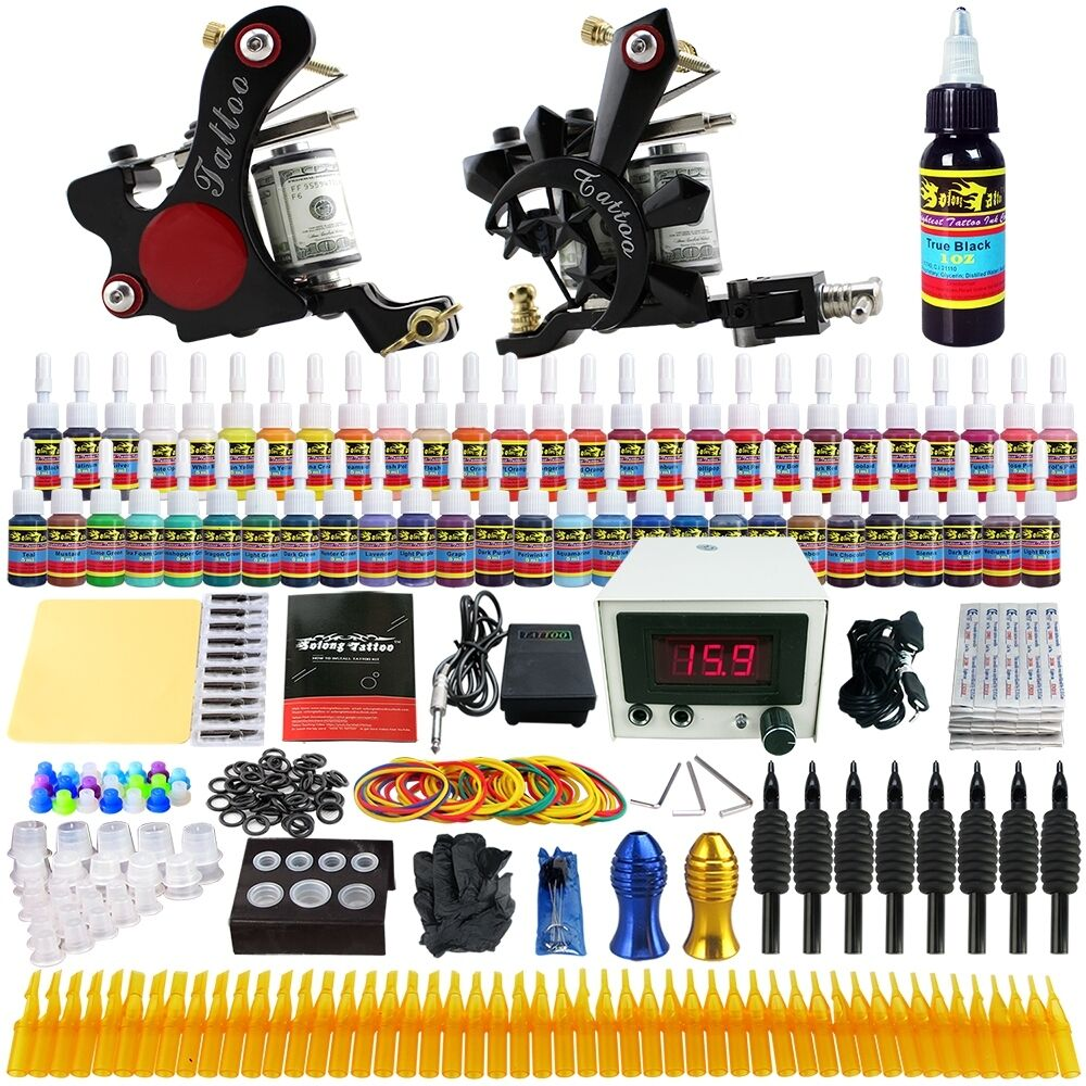 Solong tattoo kit 2 tattoo machine guns set 54 ink power for Tattoo supplies ebay