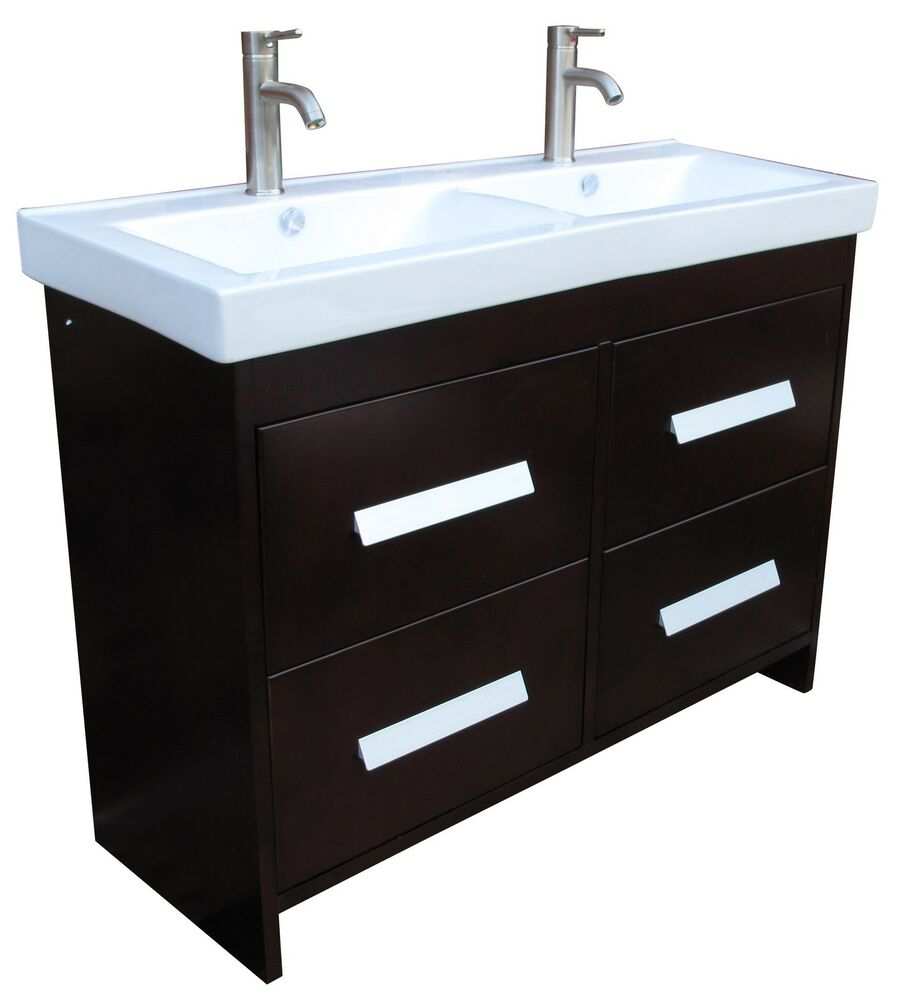 48 Bathroom Vanity Ceramic Lavatory Top With Double Integrated Sink Ns1 Ebay