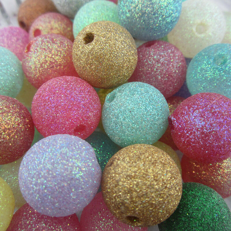 20mm Bead Beads: 20mm 110pcs Acrylic Glitter Powder Round Chunky Beads For