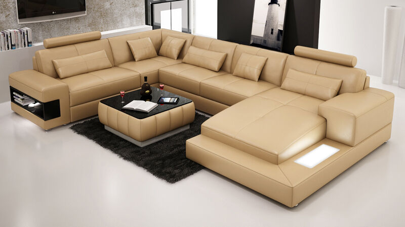 Modern Large LEATHER SOFA Corner Suite NEW RRP £5499 ...